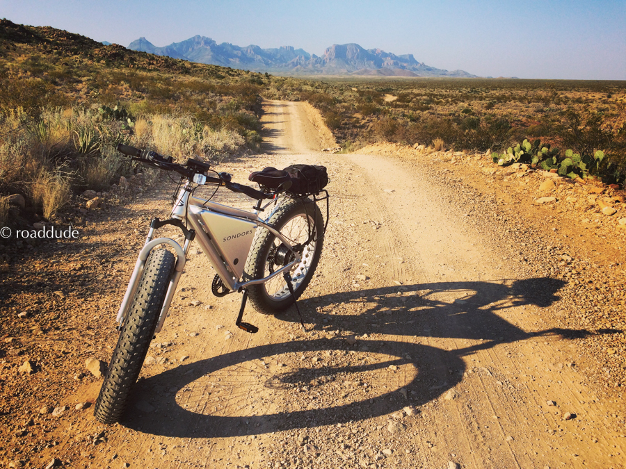 fat-tire e-bike on dirt trail in Chihuahuan Desert