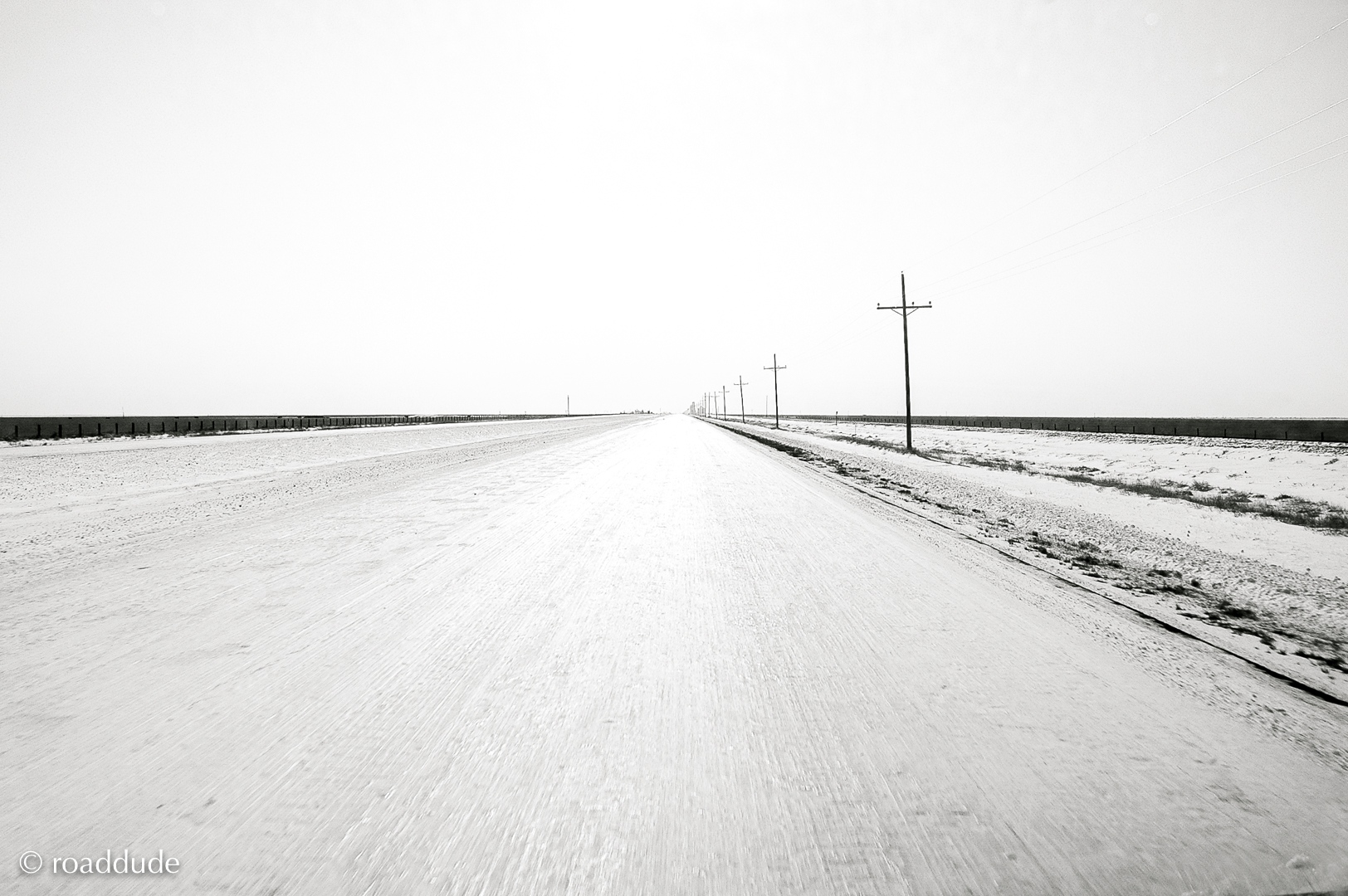Icy road east of Boise City Okalahoma