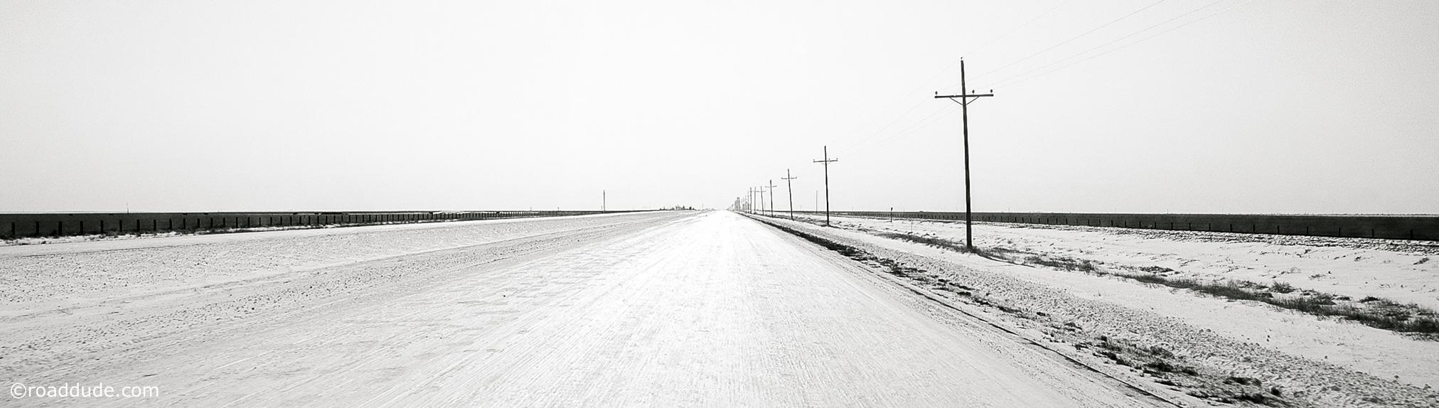 Long, icy road outside Boise City, Oklahoma