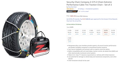 Current cable chain price on Amazon