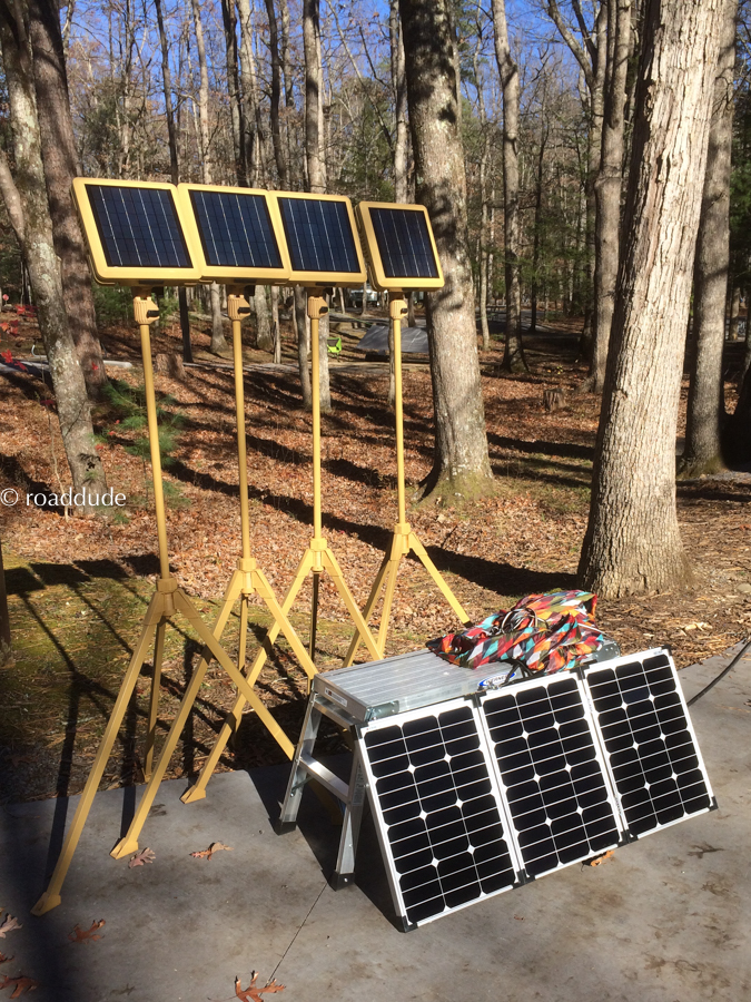 Solar powered Ready Lights and folding solar panel in late afternoon sun.