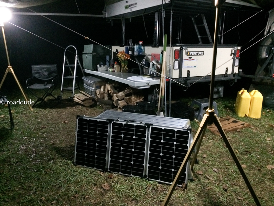 Folding solar panels aimed for the next morning's sun