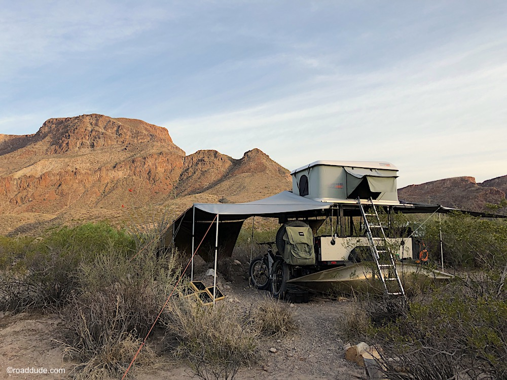 Adventure rig set up as basecamp in the Chihuahuan Desert along the Mexican Border