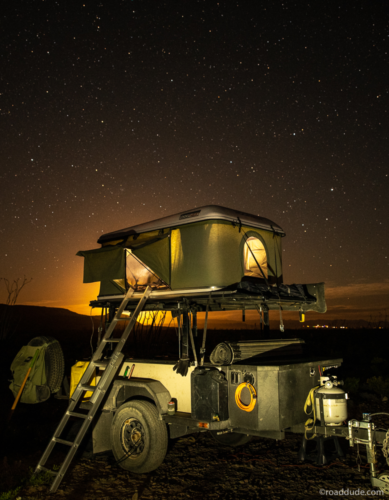 Self-sufficnet off-road trailer/adventure rig with rooftop tent set up in the Chihuahuan Desert