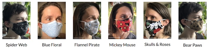 6 models with face masks, labeled