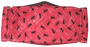 Roaddude Premium Face Mask with black Ants on scarlet background