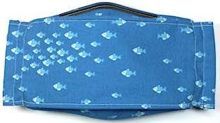 Roaddude Premium Face Mask with tiny fish on blue background