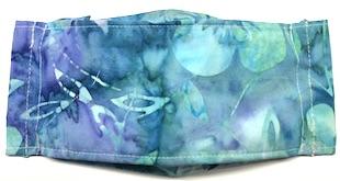 Roaddude Premium Face Mask in Blue Green floral batik fabric
