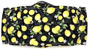 Roaddude Premium Face Mask with small lemons, leave, and blossoms on black background