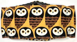 Roaddude Premium Face Mask with stylized owls on orange background