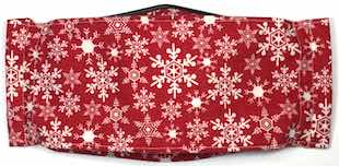 Roaddude Premium Face Mask with Snowflakes on Red