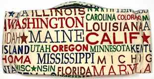 Roaddude Premium Face Mask with US State names on cream background