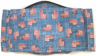 Roaddude Premium Face Mask with US Flags on blue denim background