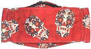 Roaddude Premium Face Mask with Sugar Skulls on red background print