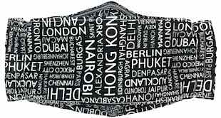 Roaddude Premium Face Mask with names of World Cities print